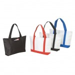 (BS217) POLY TOTE BAG W/ ZIPPER