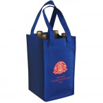 NON-WOVEN 4 BOTTLES WINE BAG Blue