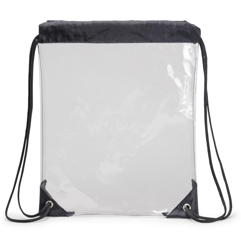 (HP1107) CLEAR VINYL DRAWSTRING TOTE BAG W/ BLACK TRIM