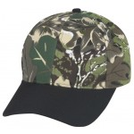 (29105) LOW CROWN CONSTRUCTED 6 PANEL CAMO TWILL CAP W/ BLACK BILL