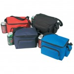 (4024) 6-PACK POLY COOLER W/BOTTLE HOLDER & CELLULAR PHONE POUCH